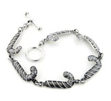 "Sterling Silver Candy Cane Christmas Link Toggle Bracelet 8"" Long"
