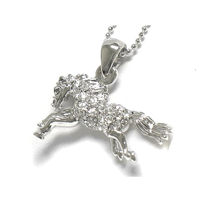 Horse Crystal Stallion White Gold Plated Pendant Necklace 17