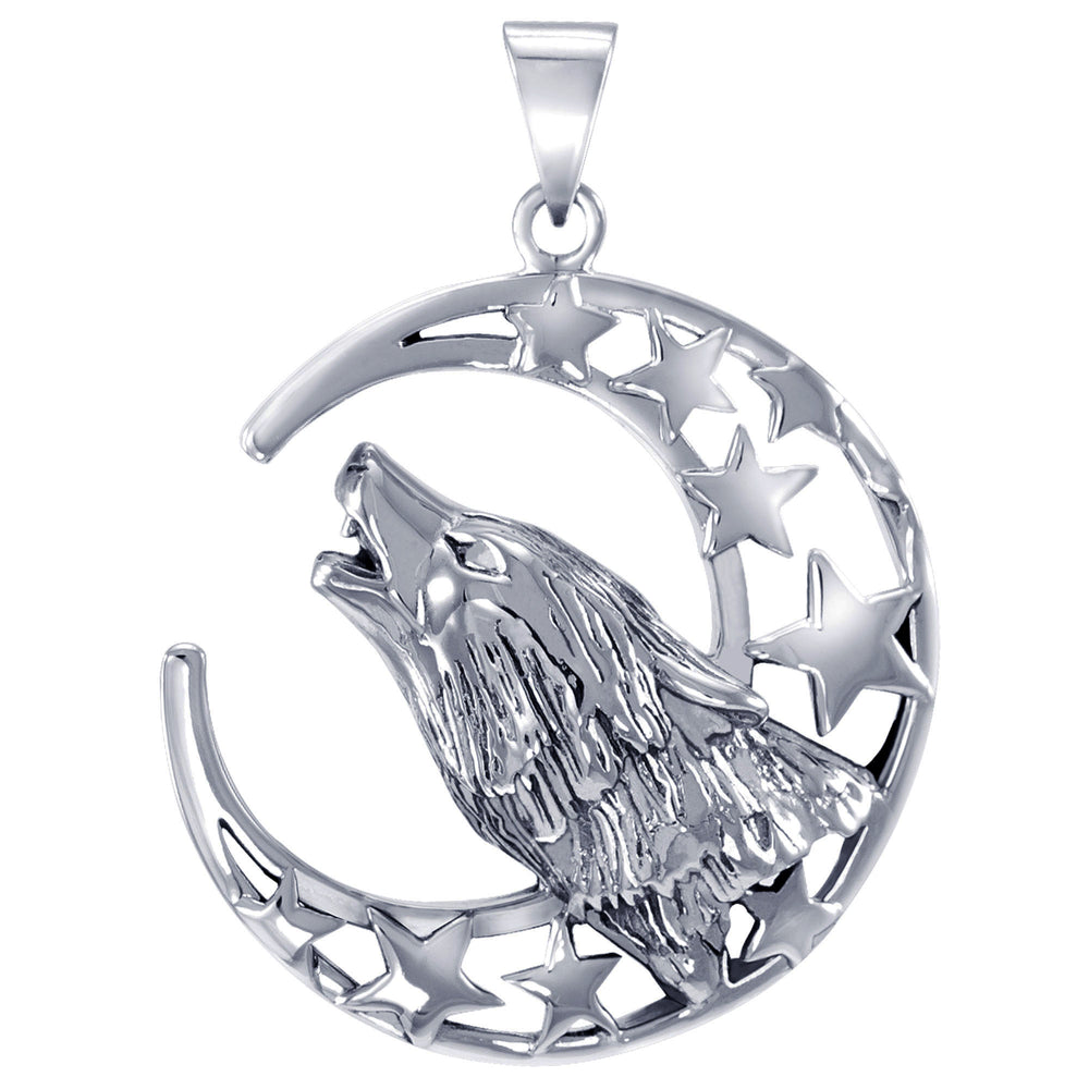 Howling Wolf at Moon Sterling Silver Pendant Necklace - Silver Insanity