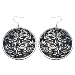 Garden Palace - Black with Silver Flowers Vintage Style Metal Disc Hook Earrings - Silver Insanity