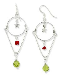 Hoop and Star Green Crystal Sterling Silver Earrings - Silver Insanity