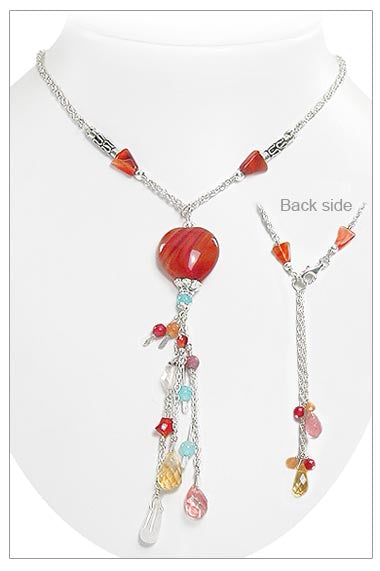 Beaded Carnelian Heart Sterling Silver Y Necklace 19""