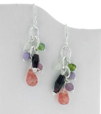 Sterling Silver Gemstone Beaded Hook Earrings with Cherry Quartz Briolette Drops - Silver Insanity