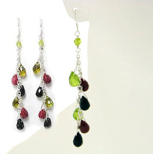 Sterling Silver Green, Red, Black Glass Drop Earrings - Silver Insanity