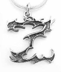 GOTHIC Letter Initial Z Sterling Silver Charm Pendant - Silver Insanity