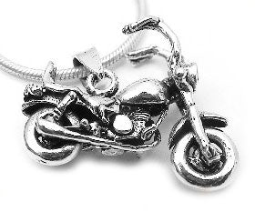 Sterling Silver Moveable Biker MOTORCYCLE Charm Pendant - Silver Insanity