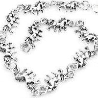 "Small Sterling Silver 7"" Unicorn Fantasy Horse Charm Bracelet, Children and Adult - Silver Insanity"