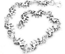 "Small Sterling Silver 7"" Unicorn Fantasy Horse Charm Bracelet, Children and Adult"