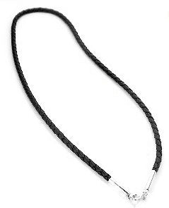 "Sterling Silver Black Leather 15"" Cord Chain Necklace"