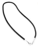 "Sterling Silver Black Leather 17"" Cord Chain Necklace - Silver Insanity"
