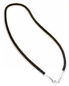 "Sterling Silver Dark Brown Leather 24"" Cord Chain Necklace - Silver Insanity"