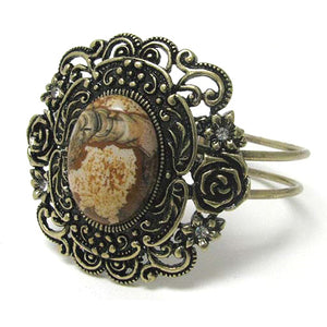 "Flower Framed Jasper - Antiqued Goldtone Hinged Bangle Bracelet 7"" - Silver Insanity"