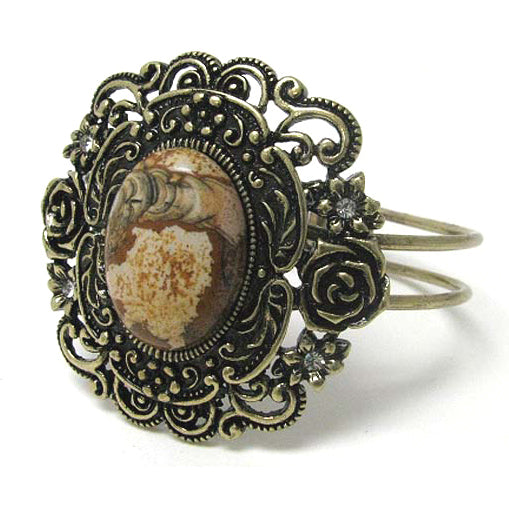 Flower Framed Jasper - Antiqued Goldtone Hinged Bangle Bracelet 7