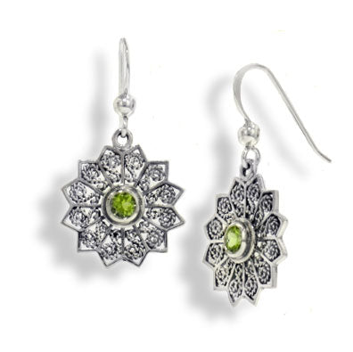 Flower Starbursts with Genuine Peridot Filigree Sterling Silver Hook Earrings - Silver Insanity