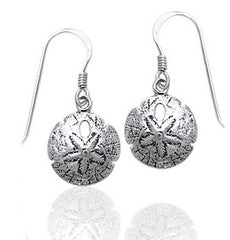Detailed Ocean Beach Sand Dollar Small Sterling Silver Earrings - Silver Insanity