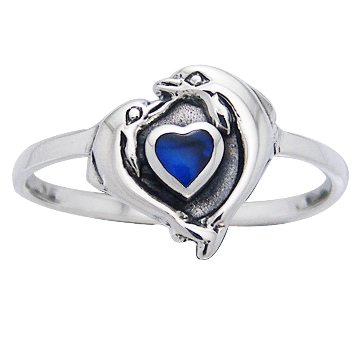 Petite Dolphin Heart Ring Sterling Silver and Paua Shell