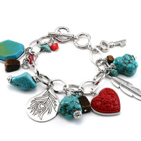 Super Chunky Turquoise Charm Bracelet - Cinnabar Heart, Feather, and Key - Silver Insanity