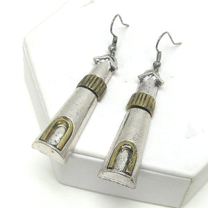 Lighthouse Silvertone & Goldtone Drop Earrings - Silver Insanity