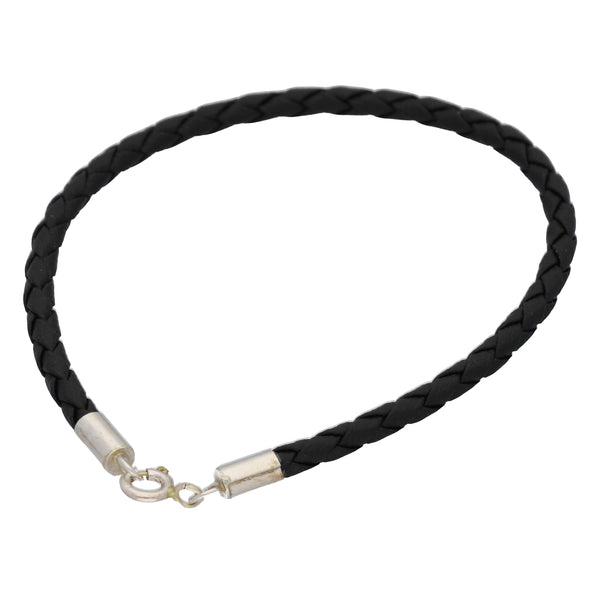Sterling Silver and Braided Black Faux Leather Bracelet - 8