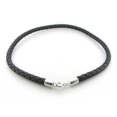 "6mm Sterling Silver Black Leather 20"" Cord Chain Necklace"