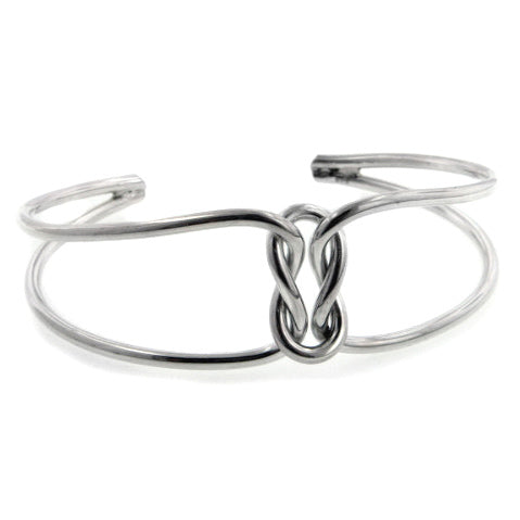 Sterling Silver Love Knot Cuff Bracelet Adjustable 7
