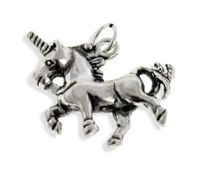 Sterling Silver 3D Unicorn Horse Charm or Pendant - Silver Insanity