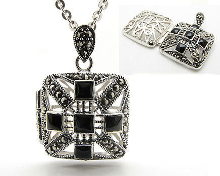 Marcasite Black Onyx Sterling Silver Pendant Necklace - Silver Insanity
