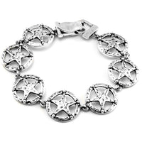 "Texas Lone Star Antiqued Silver Tone Link Bracelet 7.5"" - Silver Insanity"