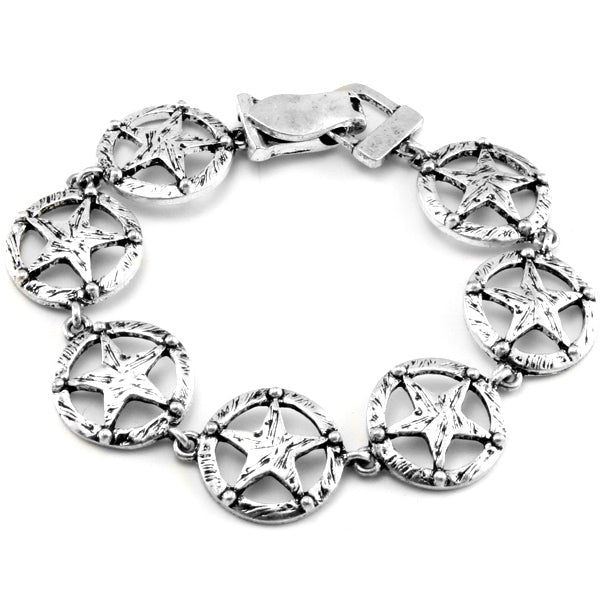 Texas Lone Star Antiqued Silver Tone Link Bracelet 7.5