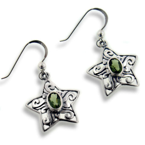 Genuine Green Moldavite Scrollwork Sterling Silver Star Hook Earrings - Silver Insanity