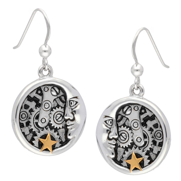Lunar Crescent Moon Steampunk Clockwork Sterling Silver Hook Earrings - Silver Insanity