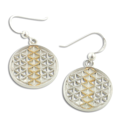 Sacred Geometry Mandala Flower of Life Amulet Sterling Silver Hook Earrings - Silver Insanity