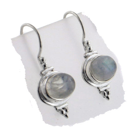 Oval Rainbow Moonstone Drops Sterling Silver Earrings - Silver Insanity
