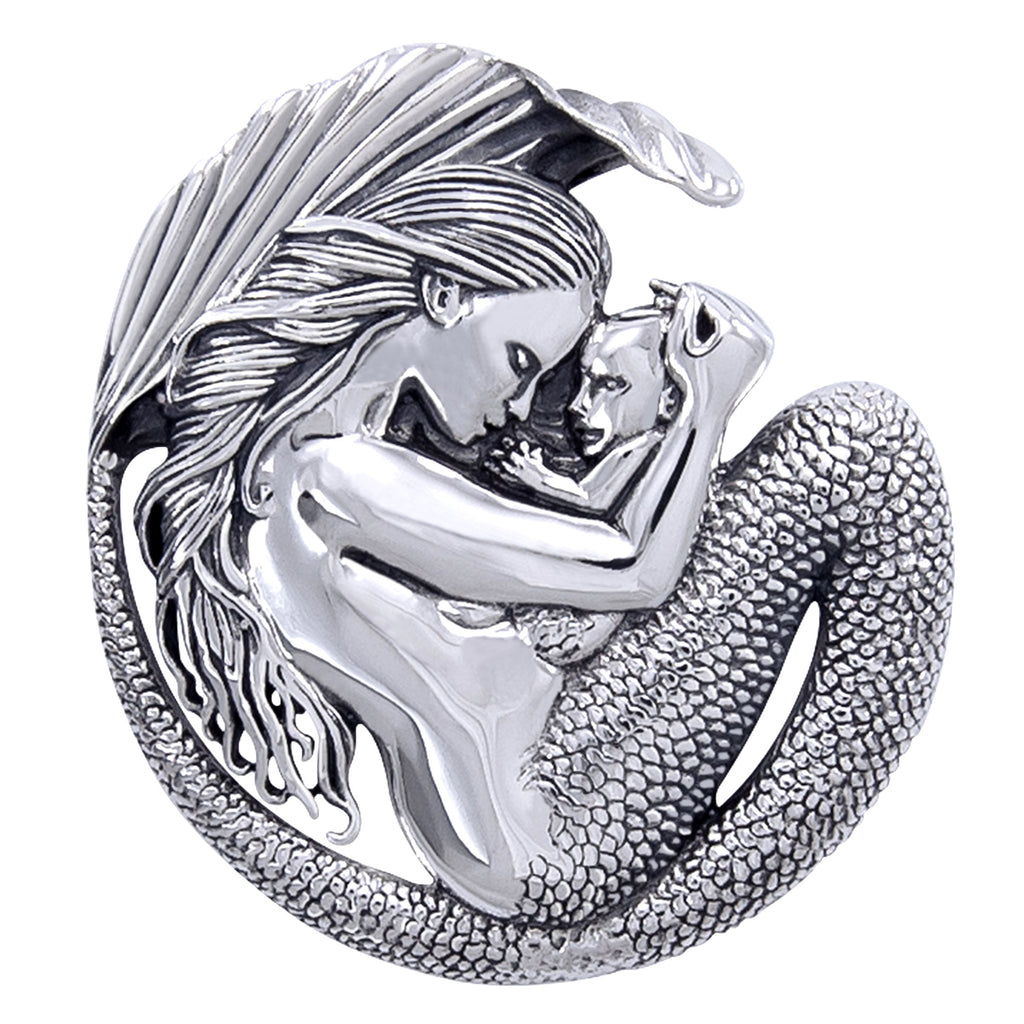 Motherhood - Mommy Mermaid and Baby Sterling Silver Pendant