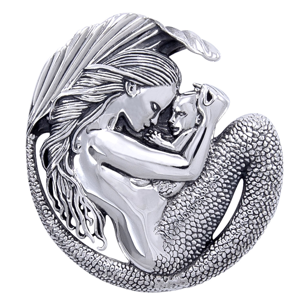 Motherhood - Mommy Mermaid and Baby Sterling Silver Pendant - Silver Insanity