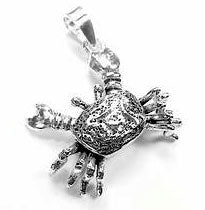 Moveable Sterling Silver Crab Cancer Charm Pendant - Silver Insanity