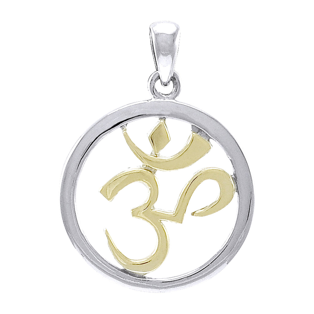 Om Aum Hindu Symbol Gold Accent Sterling Silver Pendant