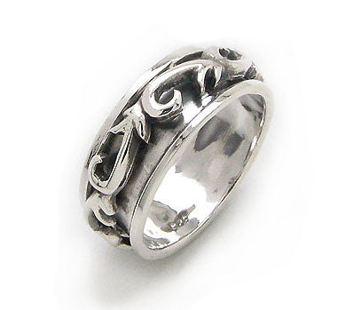 Fidget Sterling Silver Medieval Scroll or Tribal Swirl Band Spin Ring - Silver Insanity