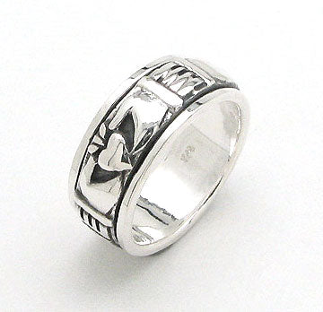 Unusual Sterling Silver Celtic Claddagh Worry Band Spin Ring - Silver Insanity