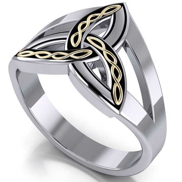 Sterling Silver and Gold Braided Celtic Trinity Ring - Silver Insanity