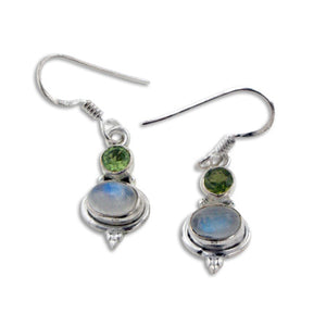 Small Gemstone Rainbow Moonstone and Peridot Sterling Silver Earrings - Silver Insanity