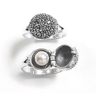 Sterling Silver Marcasite and Hidden Pearl Ring - Silver Insanity