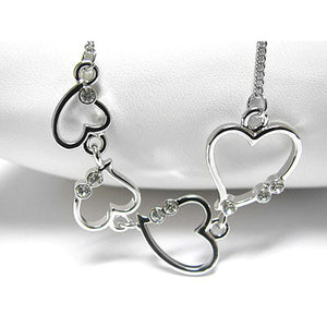 "Falling Hearts Graduated White Gold Plated Chain Necklace 18"" to 20"" - Silver Insanity"