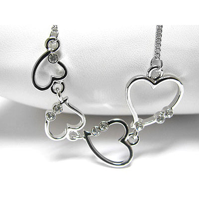 Falling Hearts Graduated White Gold Plated Chain Necklace 18