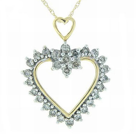 1cttw Diamond 10K Gold Heart Pendant and Chain Necklace - Silver Insanity
