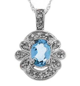 1cttw Blue Topaz & Diamond White Gold Pendant Necklace - Silver Insanity