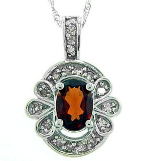 1cttw Red Garnet & Diamond White Gold Pendant Necklace - Silver Insanity