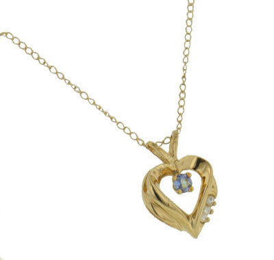 "10K Yellow Gold Heart Pendant and 18"" Necklace with Genuine Tanzanite"
