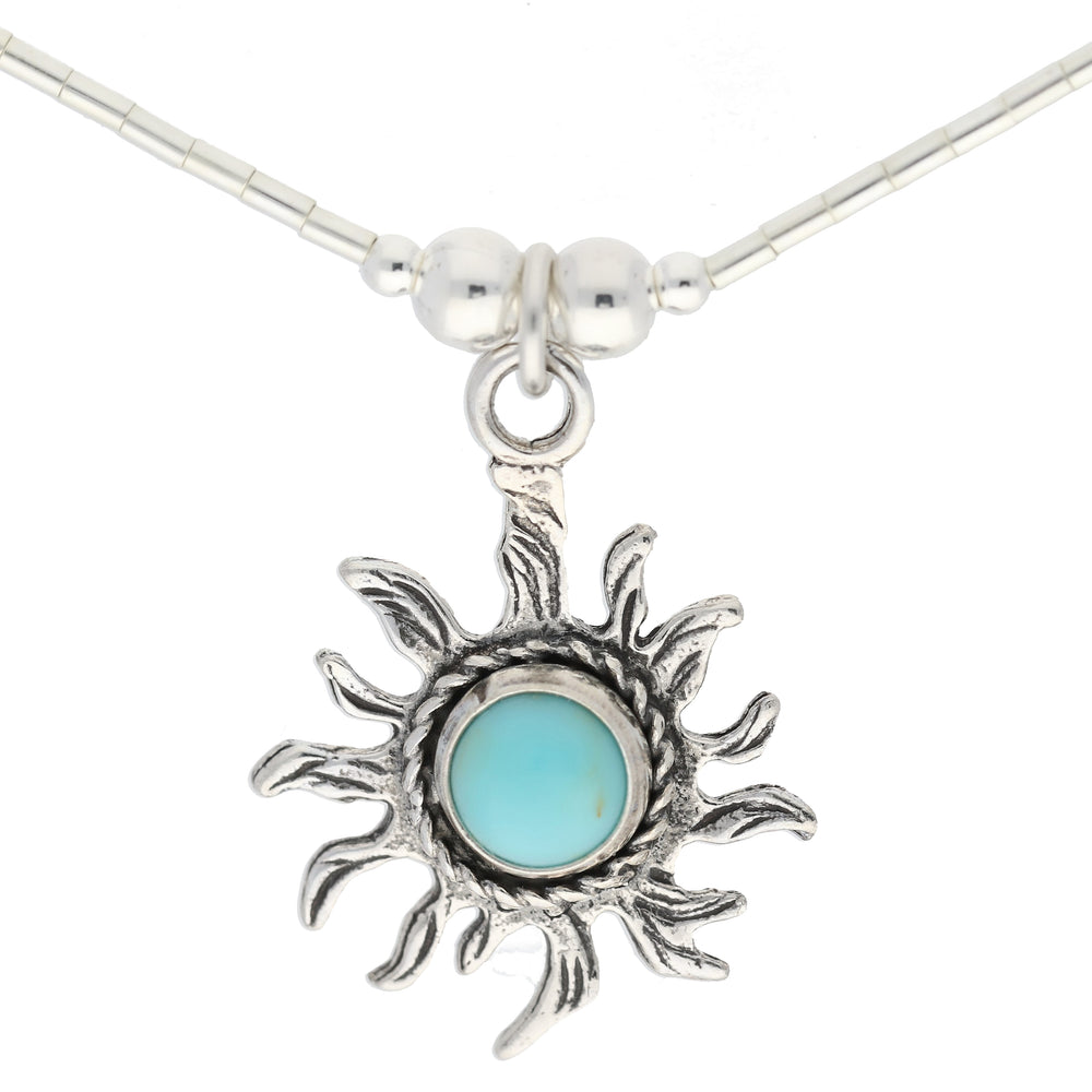 Liquid Silver Necklace with Round Turquoise Stone Sun Sterling Pendant - Silver Insanity