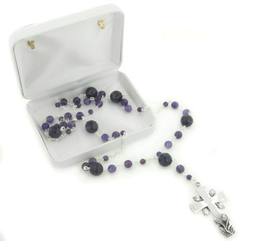 Sterling Silver and Amethyst Catholic Rosary Prayer Beads / Cross Necklace - Silver Insanity